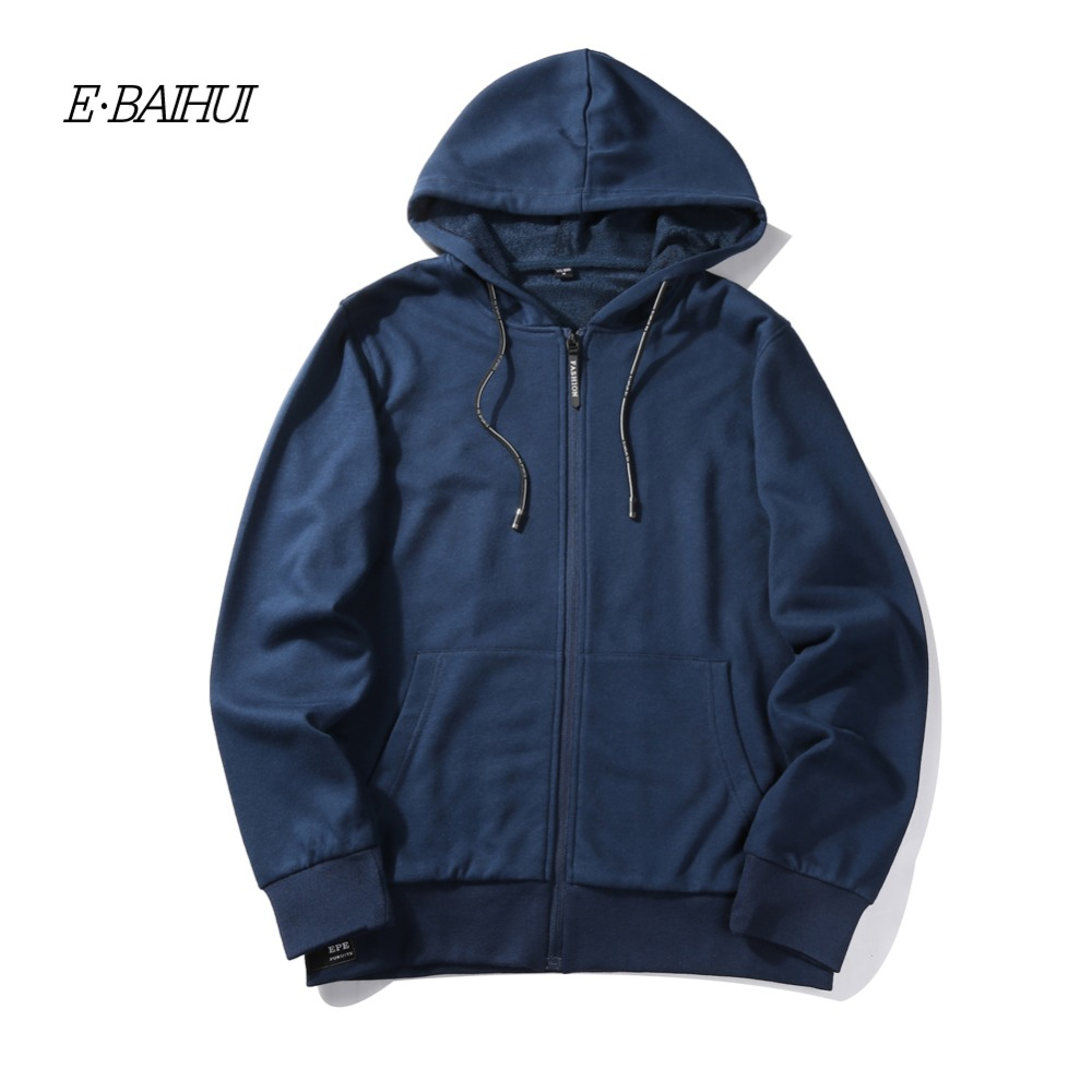 E-BAIHUI men Hooded sweatshirts new autumn solid zipper hoodies winter coats brand clothing fashion male coat plus size WY05