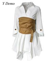Women S Elegant Belt Dress Irregular White Long Shirt Sexy Short High Waist Slim Mini Dress