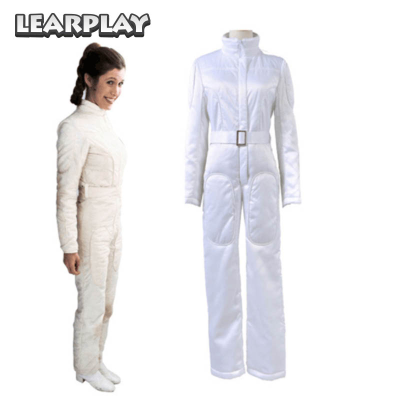 Star Wars A New Hope Princess Leia Organa Cosplay Costume Woman White Jumpsuit  Halloween Outift