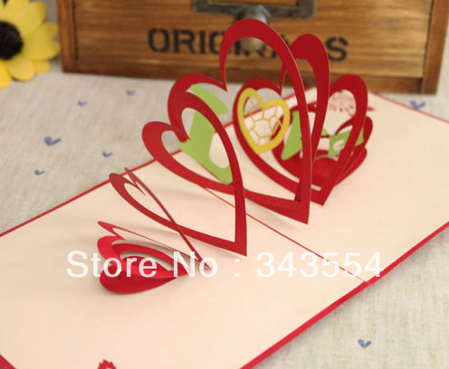 3d love card three dimensional creative birthday festival valentine