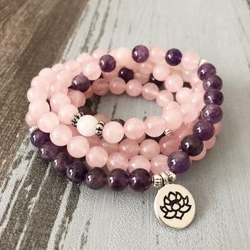 Collar y pulseras de Mala para mujer colgante de cuarzo rosa amatista pulsera de Yoga Mala