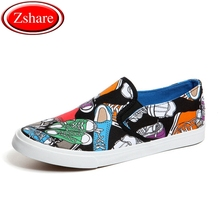 Fashion Graffiti Men Shoes Casual Mens Canvas Man Loafers Luxury Brand Comfortable Flat Slip-on chaussures homme