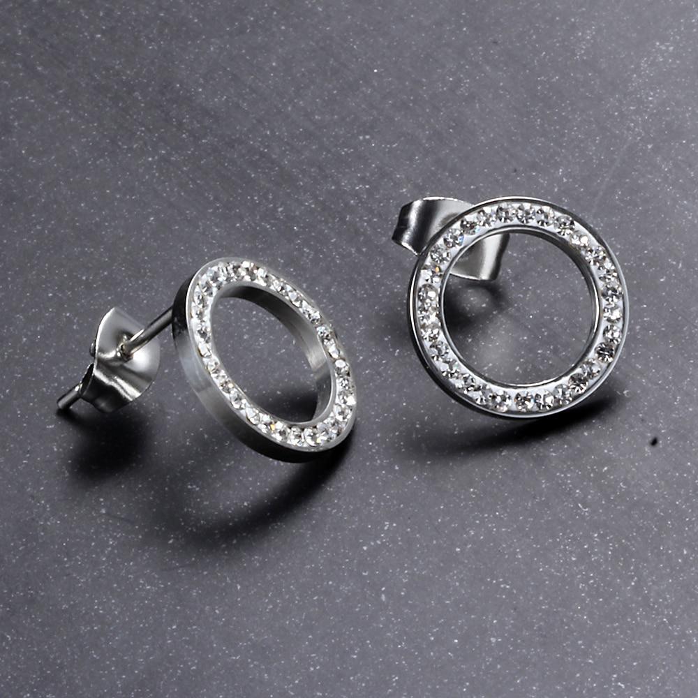 Round Crystal Stud Earrings Earrings Jewelry Women Jewelry
