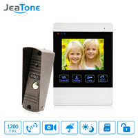 JeaTone 4 inch 4 Wired Door Phone Video Intercom Doorbell Home Security Camera System Waterproof Motion Detection On Door Panel