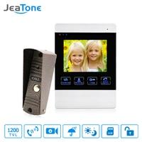 JeaTone 4 Inch 4 Wired Door Phone Video Intercom Doorbell Home Security Camera System Waterproof Motion