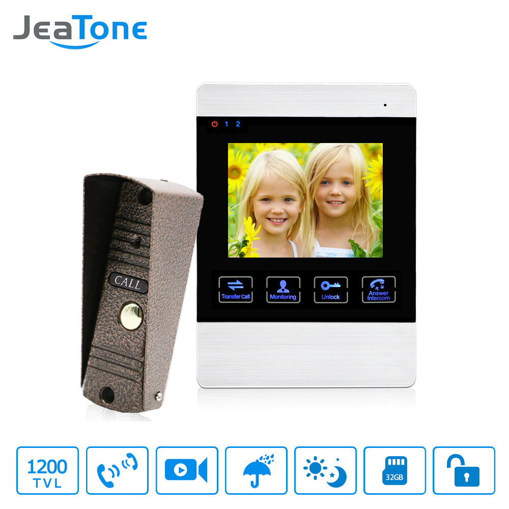 JeaTone 4 Inch 4 Wired Door Phone Video Intercom Doorbell Home Security Camera System Waterproof Motion Detection On Door Panel