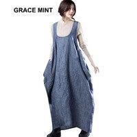Plus Size Loose Casual Dresses 2018 Spring Autumn New Fashion Cotton Linen Dress Women Maxi Long