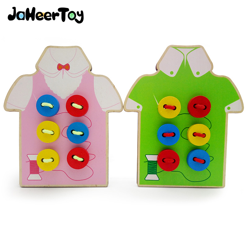 JaheerToy Baby Toys for Children Wear Buttons Montessori Educational Toy Early Childhood Learning Wear Line Lovely Clothing