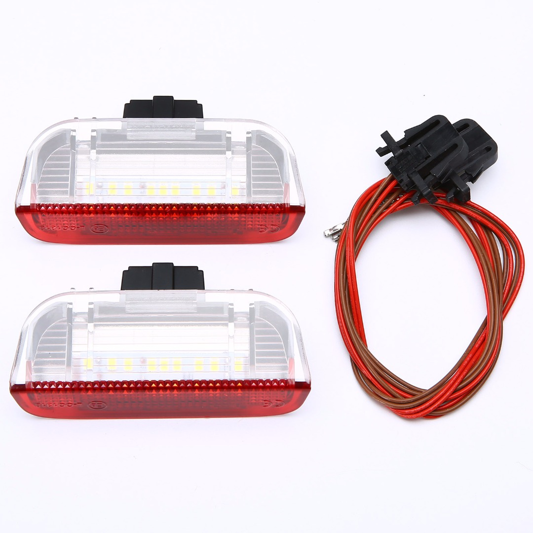 2X High Brightness LED Side Door Courtesy Light Red + White Lamp For VW Golf Jetta Passat B6 B7 GTI MK5 MK6 Tiguan Touareg 2pcs white under led side mirror puddle light lamp for vw golf gti mk6 6 mkvi 2010 2014