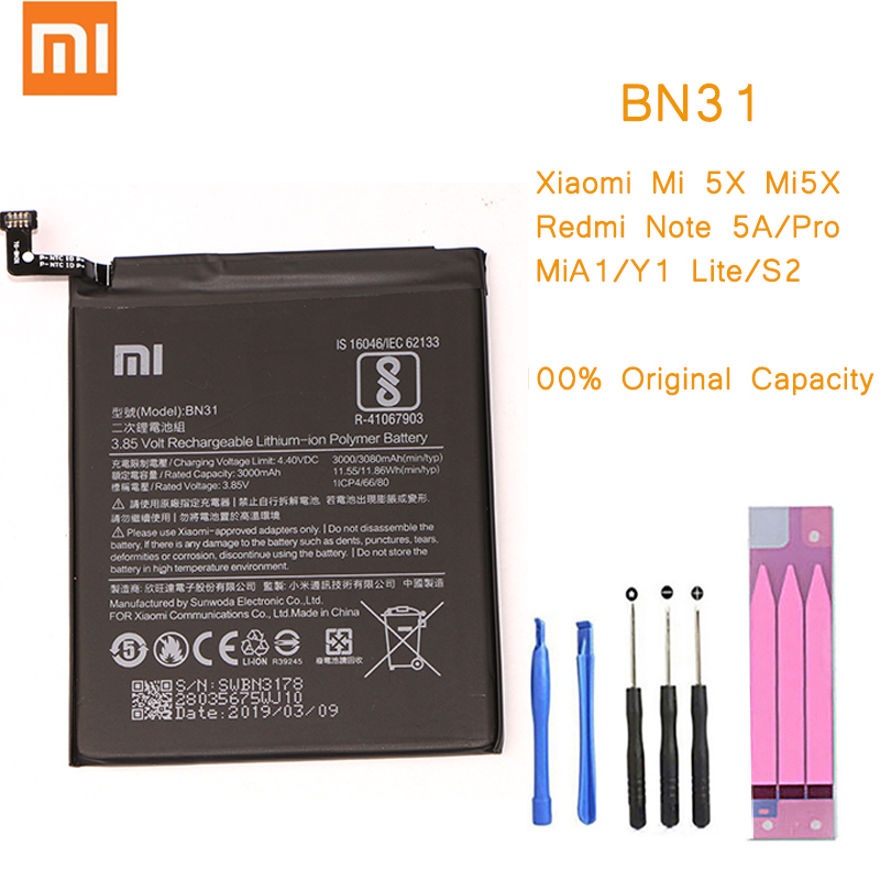 Original Phone <font><b>Battery</b></font> for Redmi Note 5A Prime S2 <font><b>Battery</b></font> <font><b>Xiaomi</b></font> Mi 5X A1 Mi5X BN31 Replacement bateria 5A Pro/prime Y1 <font><b>MiA1</b></font> S2 image