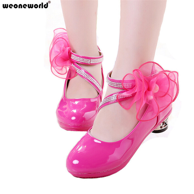 WEONEWORLD Flower Girl Wedding Shoes 2018 Spring Autumn Children Fashion Leather  Shoes Girls Cute High Heeled Antislip Shoes 669596d9332b