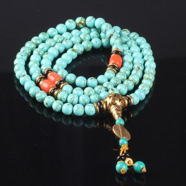 Ubeauty 8mm 108 Natural stone beads bracelet Tibetan Buddhist prayer rosary bracelets bangles women green stone necklace