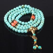 Ubeauty 8mm 108 turquoise beads bracelet Tibetan Buddhist prayer rosary bracelets bangles women green stone necklace