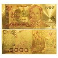 24K Colored Thailand 1000 Baht Gold Banknote Sammlerstuck Geschenkidee
