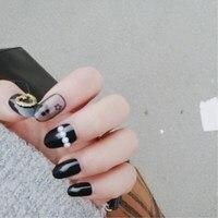 Nowe Przywrócić dawne sposoby okrągłe głowy czarny orb sexy kwiat paznokci fałszywe paznokcie łatka 24 sztuk produktu kleju
