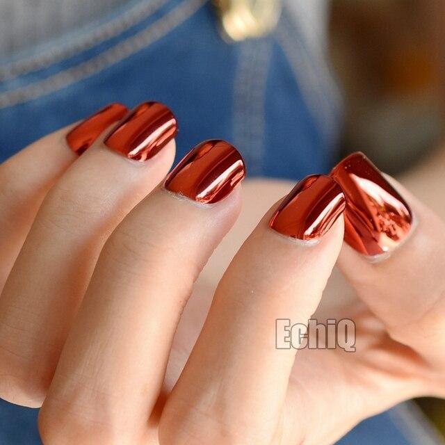 Espejo de metal falso Clavos profundo atractivo rojo acrílico Uñas ...