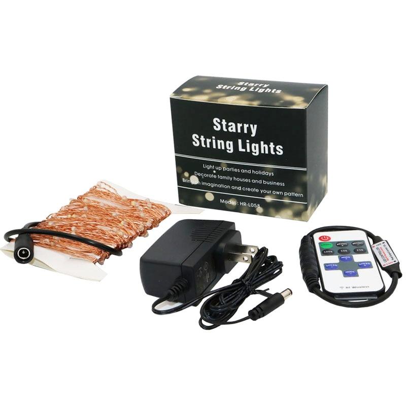 10m 100 33ft RF fjärrkontroll dimbar LED-koppar trådsträng lampa - Festlig belysning - Foto 2