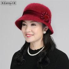 XdanqinX 2019 Autumn Womens Hat Elegant Lady Rabbit Fur Bucket Hats Knitted  Multicolor Flower Decoration Female Winter