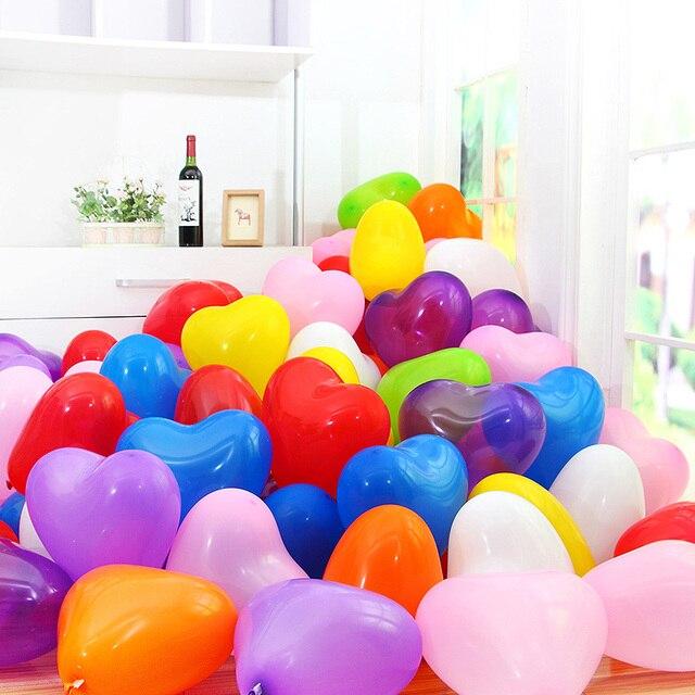 Free Shipping Lovely Heart Balloons 100pcs/lot Hearts Latex Helium Wholesale Wedding Birthday Ballon For Party Home Decoration