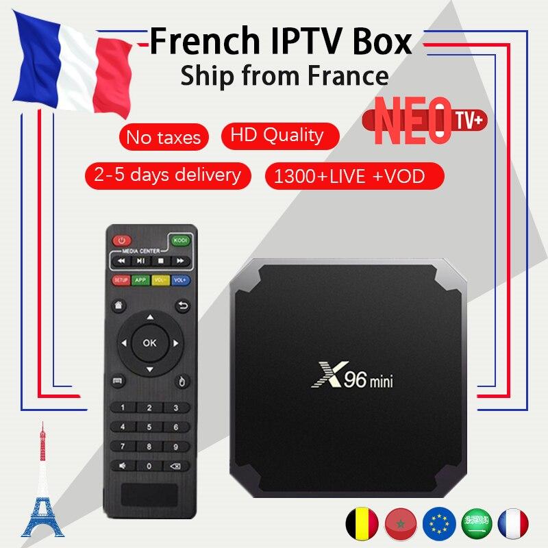 Französisch IPTV X96mini 4 karat android TV Box Android 7.1 mit 1300 + NEO IPTV Französisch Arabisch Belgien Spanien Europäische Smart TV Set top Box