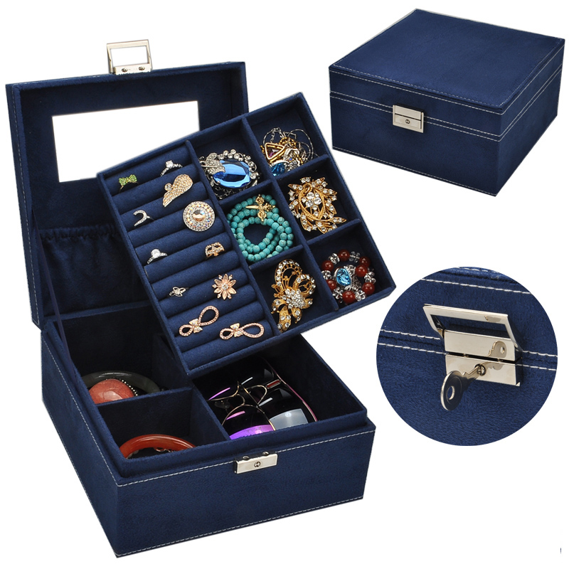 Guanya 2 Layers Velvet Square Watch Jewelry Box Fashion Jewellery Display Storage Packaging Case Organizer Gift Boxes 5 Colors