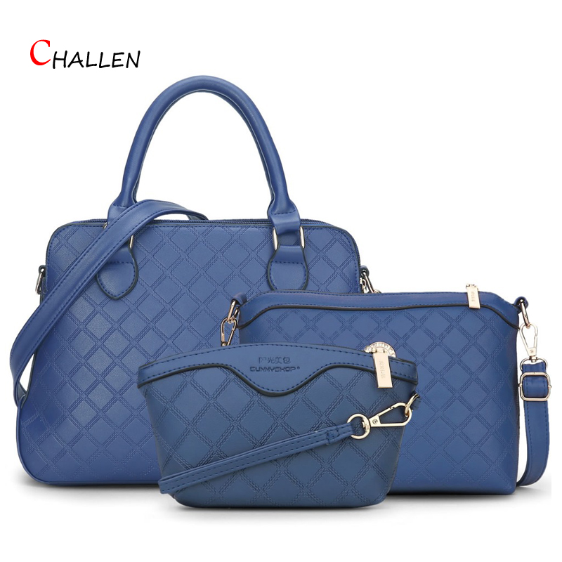 ФОТО 2016 Famous Design Brand Women Composite Bags Handbags Hot Sale Blue Red Crossbody Shoulder Bag Luxury Plaid Messenger Bag Y713