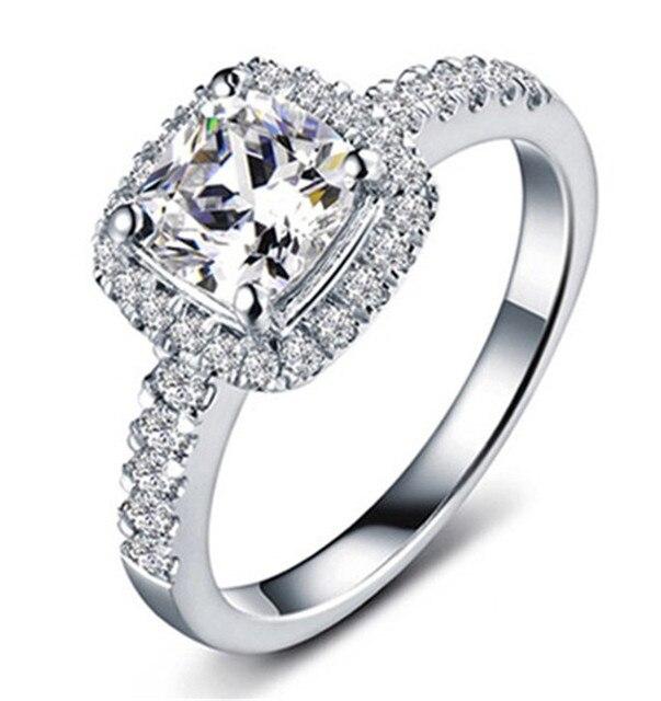 Masywnie Luksusowe 2CT poduszka Cut symulowane diamentowe pierścionki DJ84