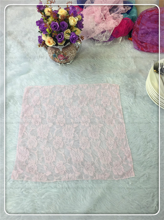 50pcs Lace Fabric Napkin Table Cloth Chair Sashes Cover Flowers Home Hotel Dinner Party  ...