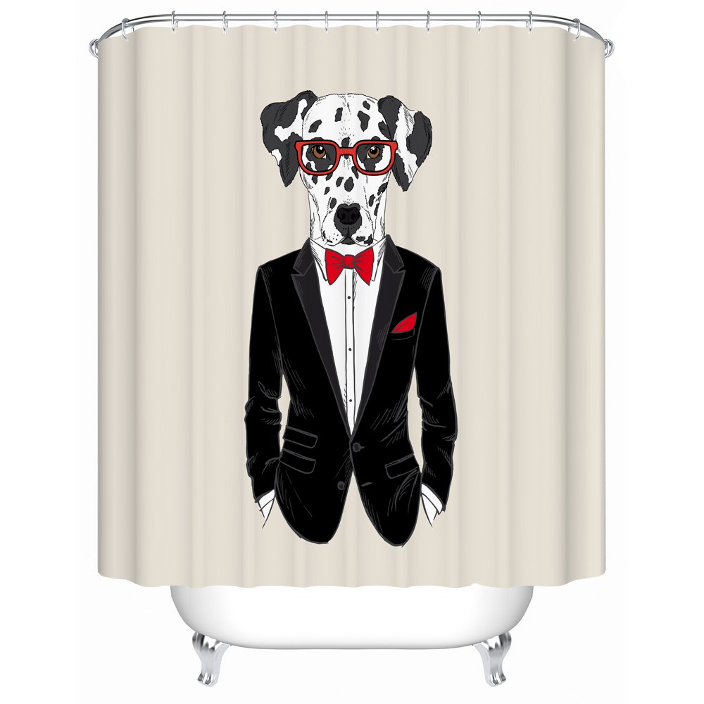 Wear Red Glassess Dalmatian Wearing Black Suit Is So Cool Shower Curtain For Kid And Love Dog Hipster Animal Design Bath Decor
