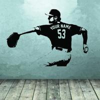 Baseball Wall Decal Wall Art CUSTOM NAME Jersey Numbers Baseball Player Vinyl Sticker For Boys Bedroom
