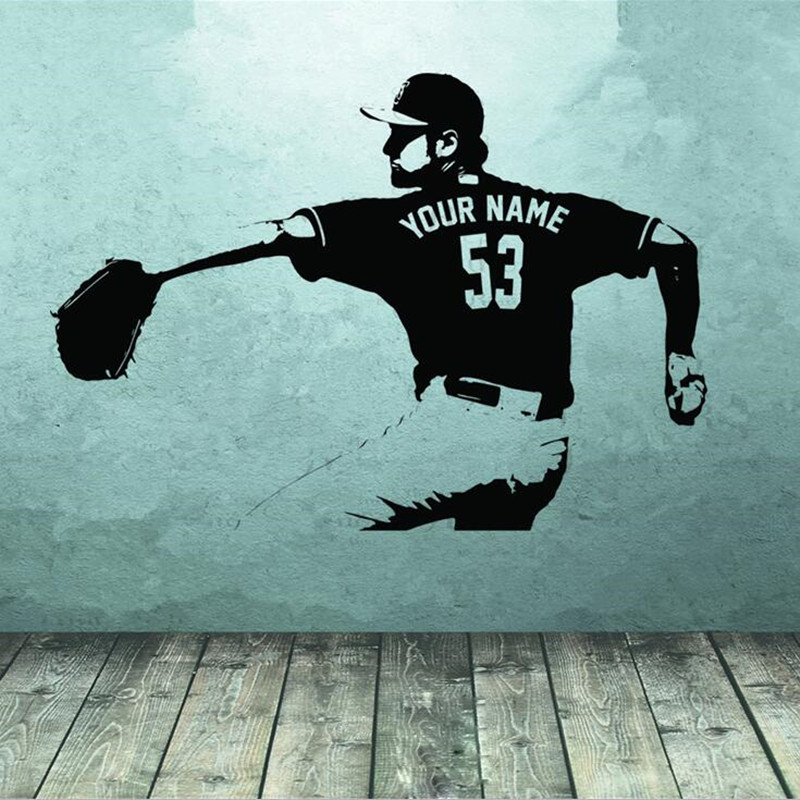 Baseball player Vegg kunst Decal klistremerke Velg Navn nummer personlig hjemmeinnredning Vegg klistremerker For Kids Room Boy Bedroom A186