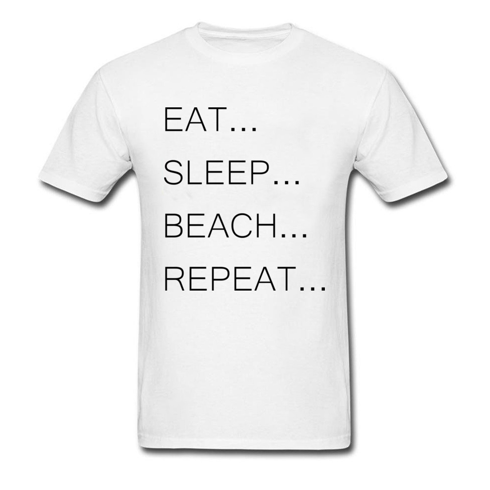 Eat Sleep Beach Repeat Funny Quote Letter Graphic T Shirts For Youth Man College T-Shirts Hot Sale Black Words Cotton Tees