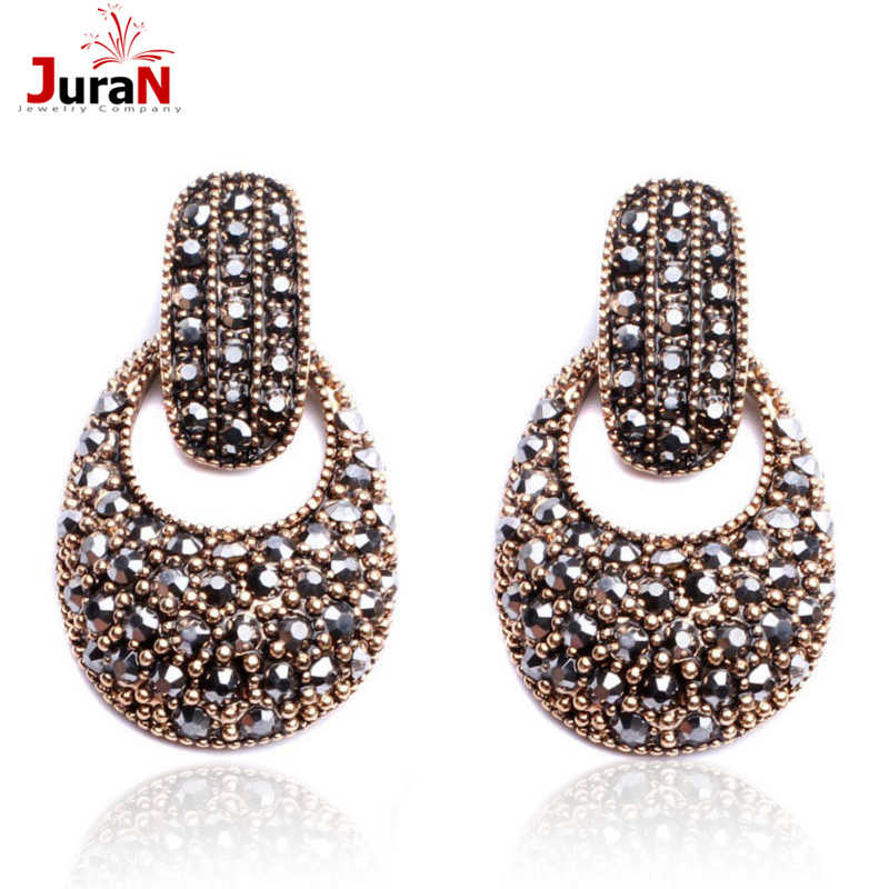 JURAN Factory Wholesale Women Fashion Crystal Drop Earrings Party Jewelry Brand Earrings Free Shipping 15 Styles Brincos 2019