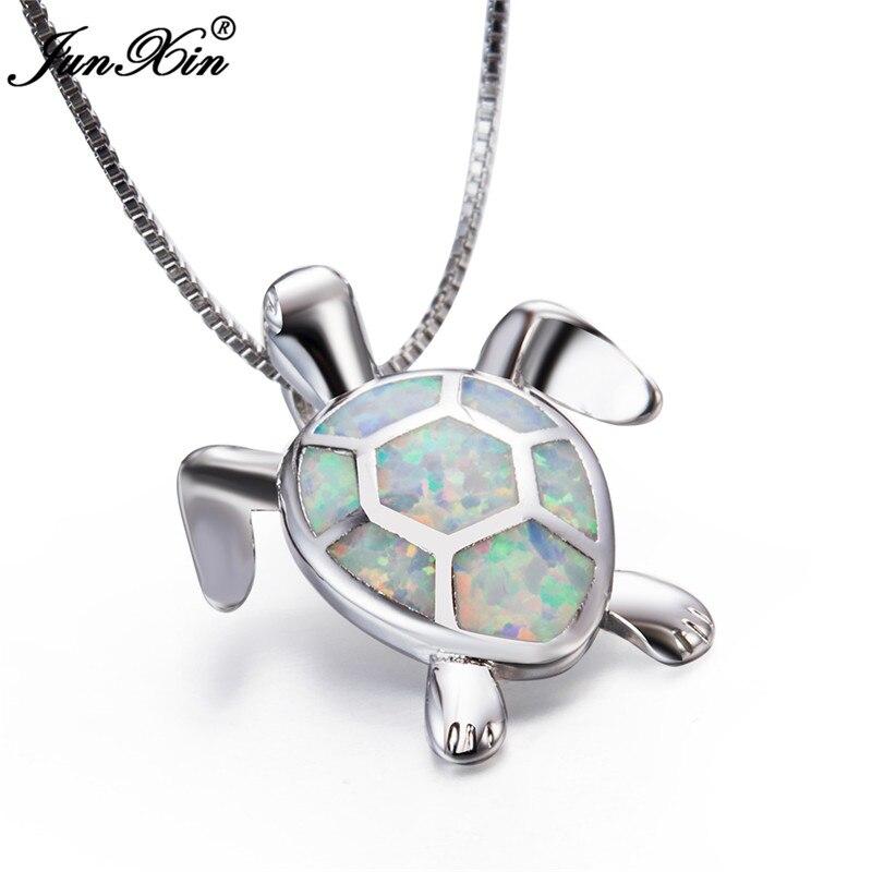 JUNXIN Blau/Weiß Feueropal Turtle Anhänger Frauen 925 Sterling Silber Gefüllt Halskette Niedlichen Tier Schmuck Valentinstag geschenk