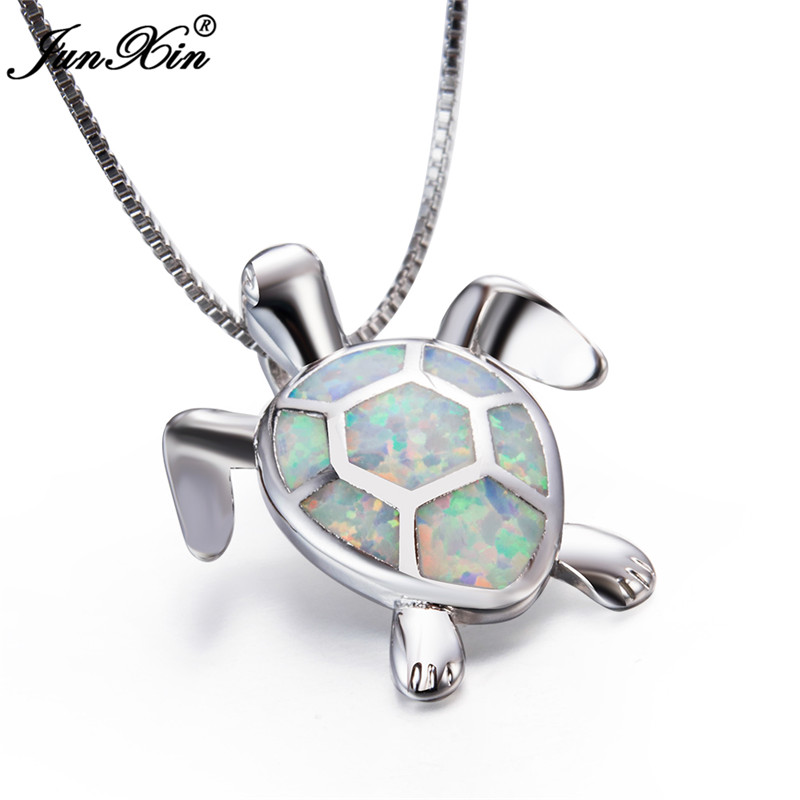 JUNXIN Blue White Fire Opal Turtle Pendant Women 925 Sterling Silver Filled Necklace Cute Animal Jewelry