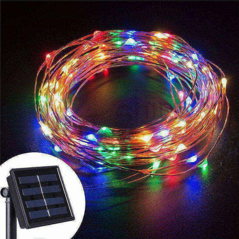 luminarias led solar panel lights lawn spotlight wall lamp new year christmas garland light garden outdoor floodlight decoration 10M/33FT Solar Power 100 LED Christmas Garland Fairy Wire String Lights Lamp Garden Outdoor Indoor Halloween New Year Decoration