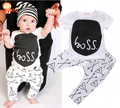 2016 Nueva Moda Infantil Del Bebé Traje de Bebé del Estilo del Verano Boy Ropa de Algodón Letras Impresas Equipo Del Bebé Unisex camiseta + Pants 2 unids