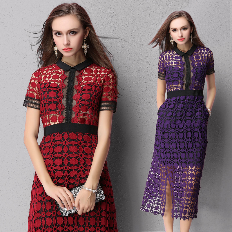 2019 Ladies Summer Patchwork Dresses Mesh Party Dress Hollow Lace Short Sleeve Women Sexy Lace Split