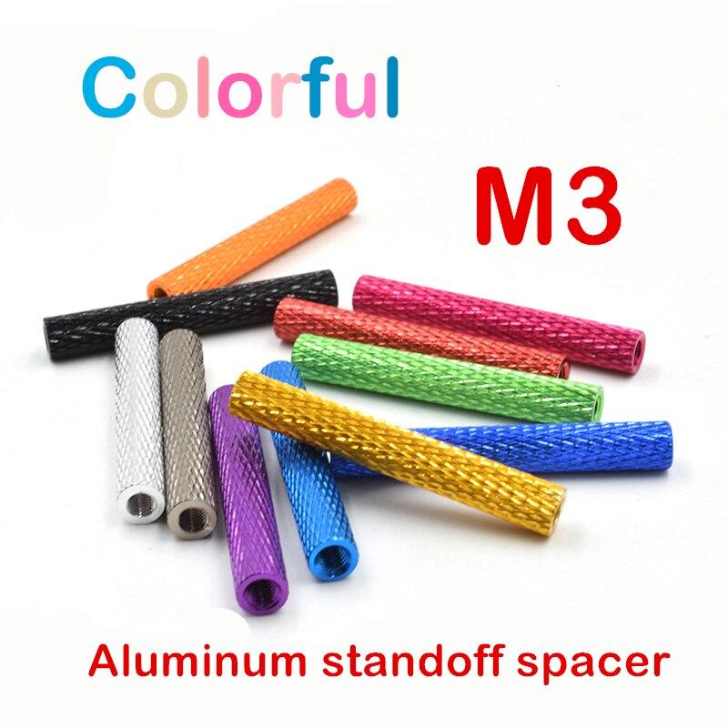 10pcs M3*6/10/15/20/25/28/30/35/37/40mm 11 Colors Round Aluminum knurled standoff spacer Aluminum Column post for Diy Model