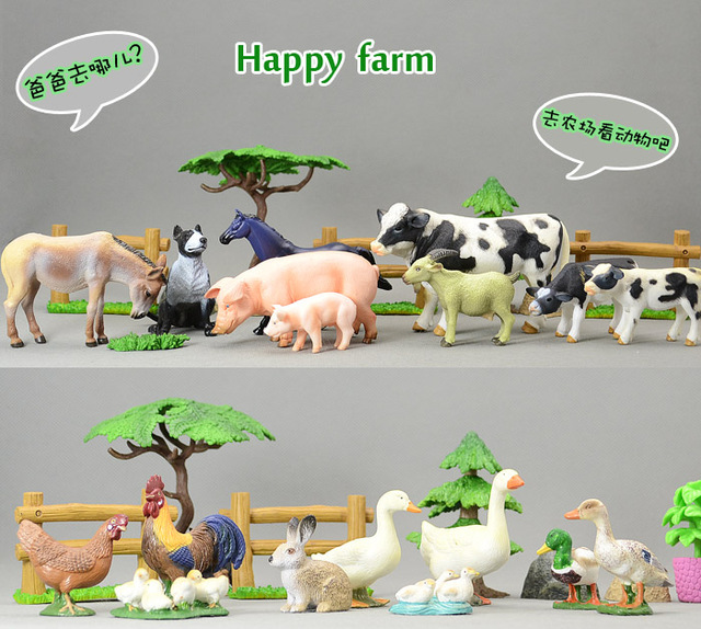 high quality solid animal model chicken duck goose cow horse dog pig rabbit animal set 18 poultry /set ,including scene