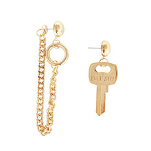 Earrings key asymmetric geometry chain design modelling chic fashion and personality exaggerated earrings