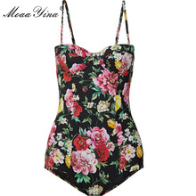MoaaYina Fashion Designer Bodysuits Summer Women Spaghetti Strap Romantic Sicily Holiday Bohemia Beach Print Sexy