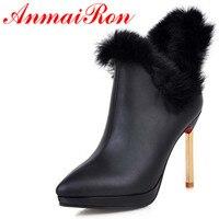 Botas de Moda Dedo Del Pie puntiagudo Zapatos de Las Mujeres Delgadas zapatos de Tacón Alto Botas de Invierno de Cuero Suave Botas de Nieve Plataforma Negro Blanco Oro Rojo