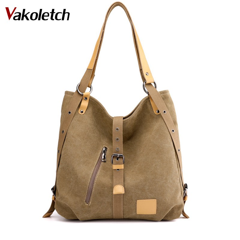Solid Vintage Multi-Function Shoulder Bag Double Conversion Handbag Totes Hobos Single Shoulder Bags KL561