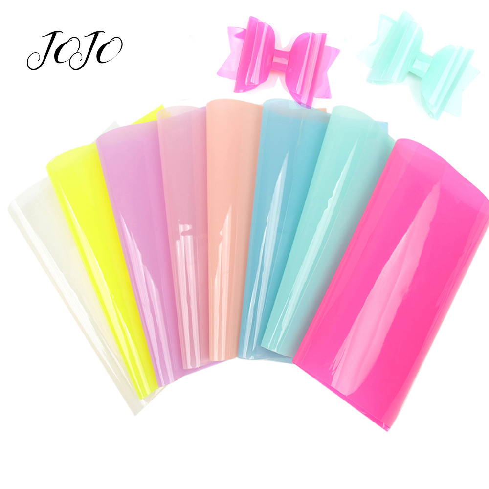 JOJO BOWS 22*30cm Transparent Synthetic Leather PVC Fabric Solid Sheet For Needlework DIY Hair Bows Material Garment Sewing