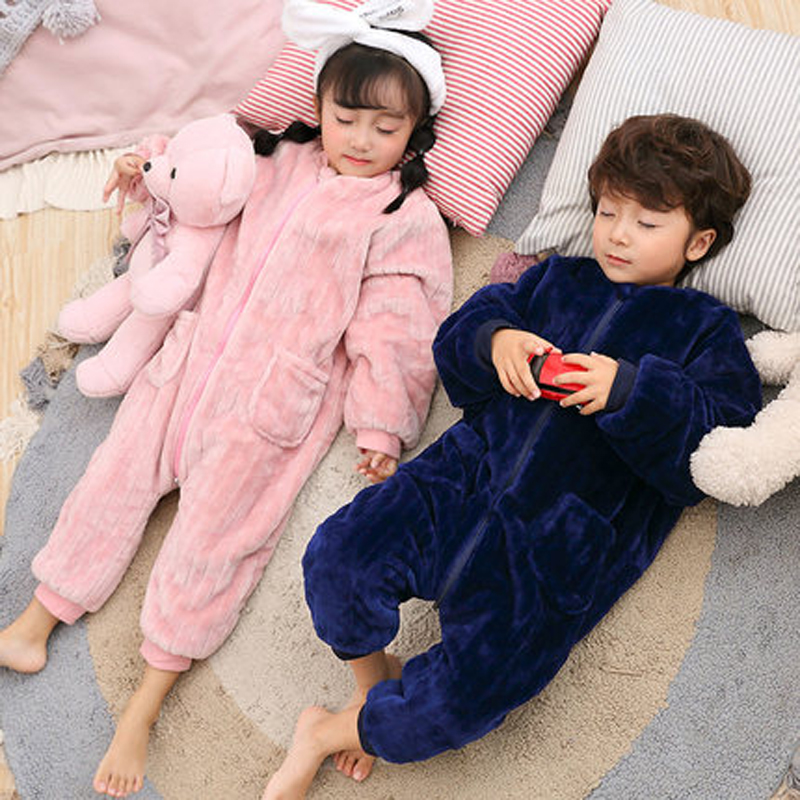 все цены на Kids Pajamas Christmas For Girls Onesie Children Plush Costume Boys Pyjamas Flannel Fleece Sleepwear Girl Warm Winter Sleepers