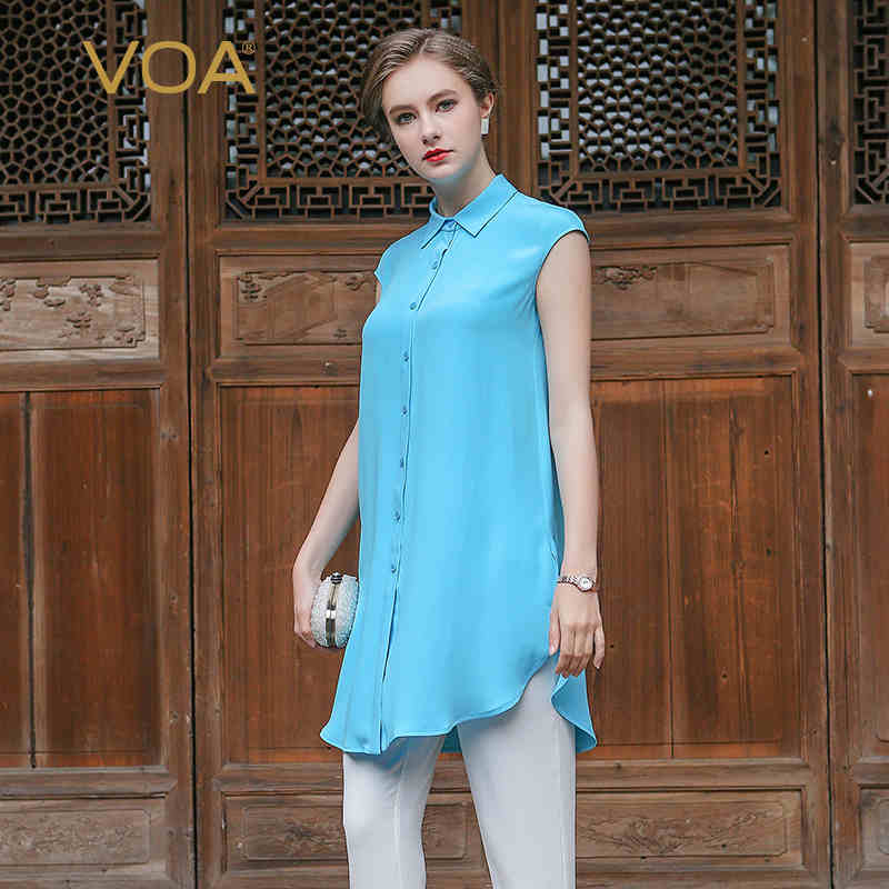 VOA 2017 Summer Sleeveless Solid Brief Casual Long Blouse Plus Size Sky Blue Heavy Silk Office