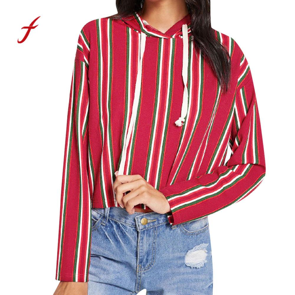 2018 Autumn sweatshirt Women plus size Long Sleeve Print Striped Tethered hoodies casual women harajuku Sweatshirt kpop