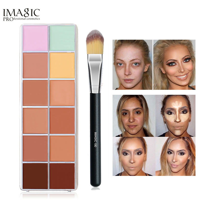 IMAGIC 12Colors Beauty Contour Makeup Cometic All Skin Types Face Cream Concealer Palette + Brush Make up kit image