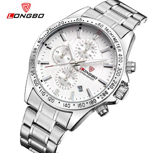 Moda marca de luxo longbo militar esportes relógio de aço inoxidável quartzo analógico relógios de pulso mens relógios à prova d' água 80177